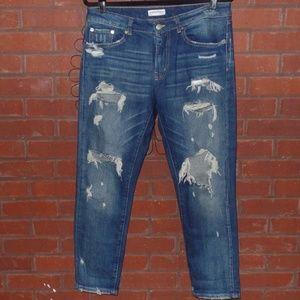 Zara Woman Distressed Ankle Boyfriend Jeans 8
